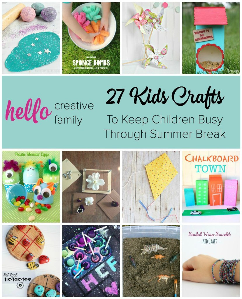 Best ideas about Unique Crafts For Kids . Save or Pin 27 Kids Crafts to Keep Children Busy Through Summer Break Now.