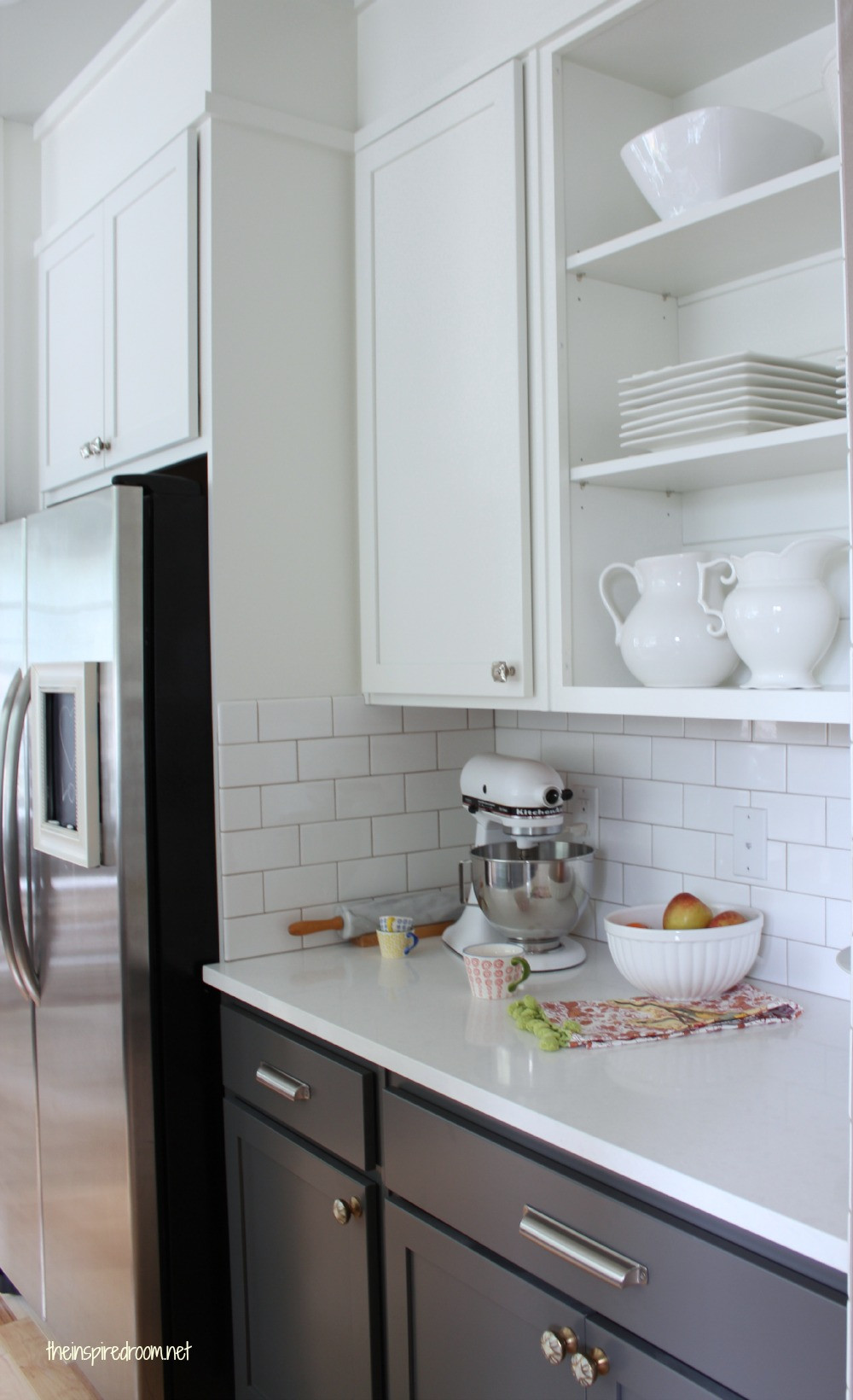 Best ideas about Upper Kitchen Cabinets . Save or Pin Kitchen Cabinet Colors Before & After The Inspired Room Now.