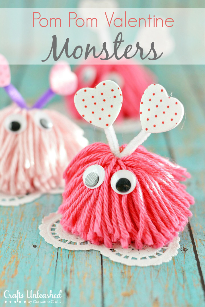 Best ideas about Valentines Day Craft Ideas For Kids . Save or Pin Valentine Craft Pom Pom Monsters Tutorial Now.