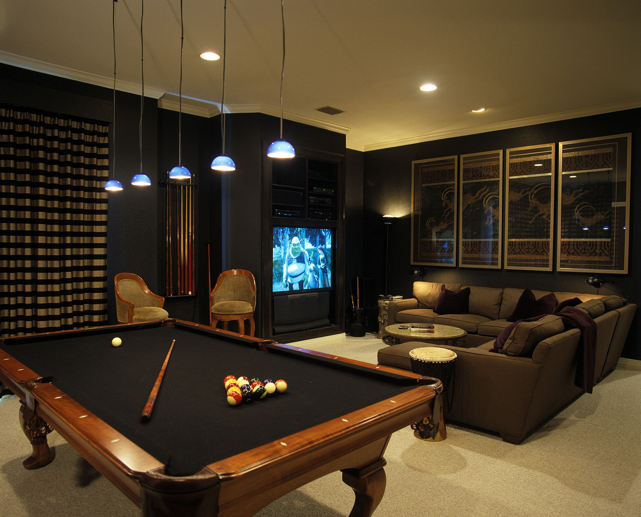 Best ideas about Video Game Room Furniture . Save or Pin Dark media room with pool table more MEDIA Now.