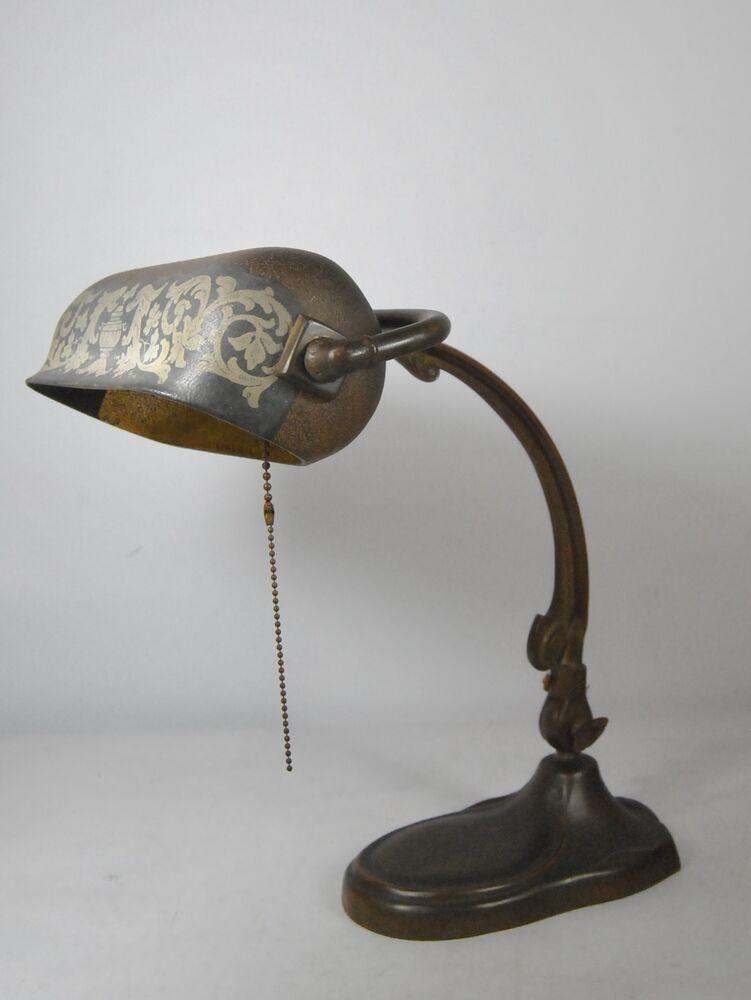 Best ideas about Vintage Desk Lamp . Save or Pin Antique Handel Desk Lamp Base Original Patina Cloth Label Now.