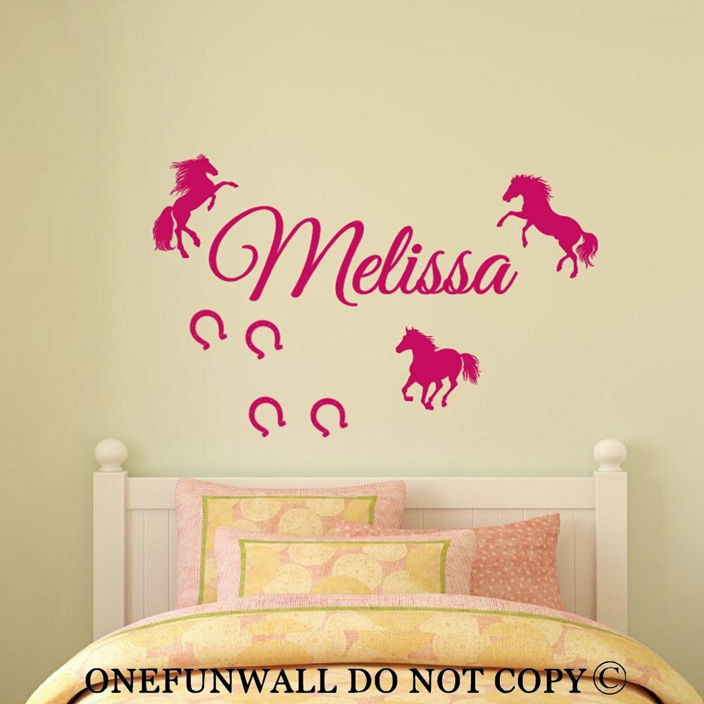 Best ideas about Vinyl Wall Art . Save or Pin Personalized Name 3 Horses & Horseshoes Vinyl Wall Decal Now.