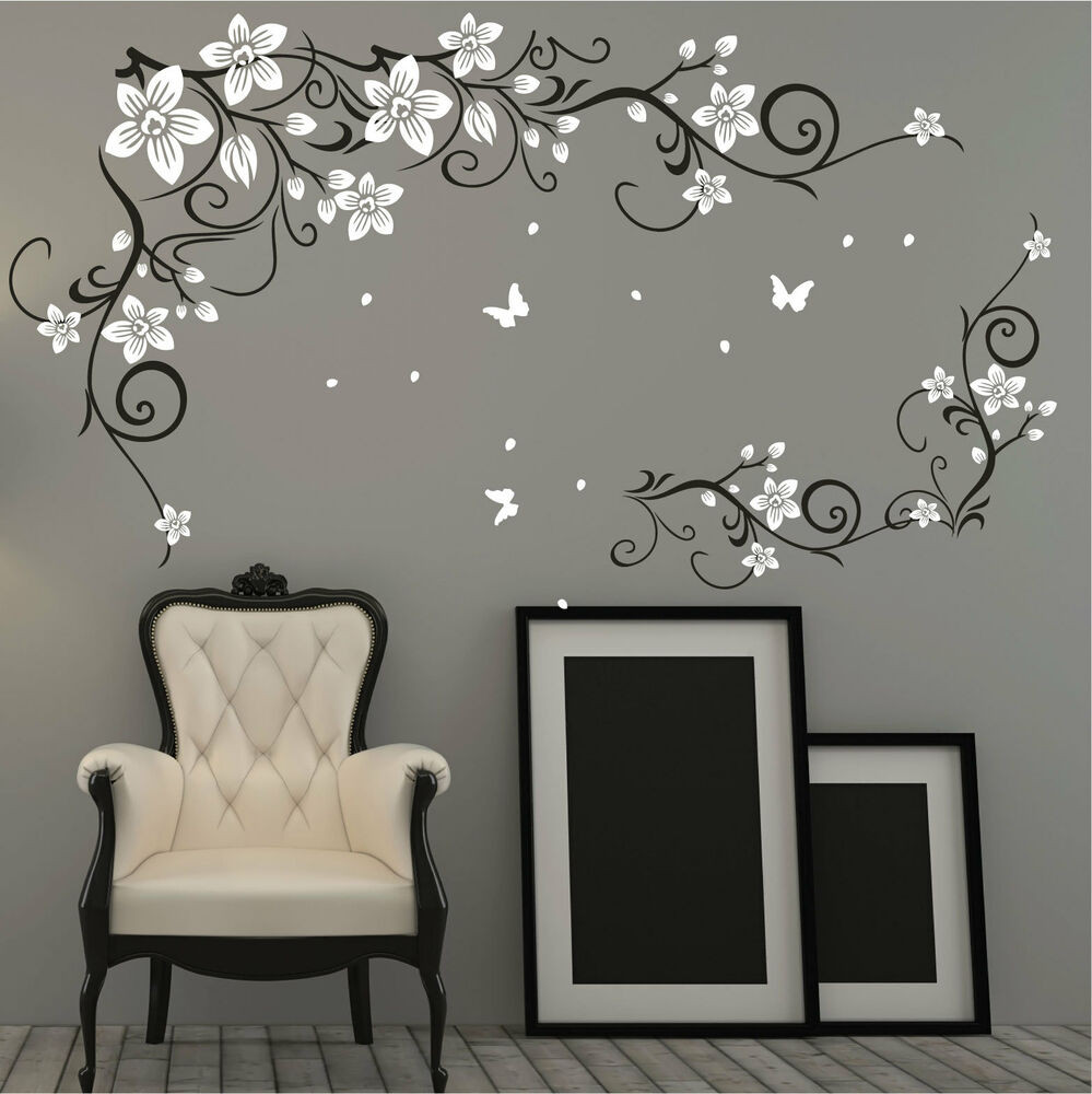 Best ideas about Vinyl Wall Art . Save or Pin Butterfly Vine Flower Vinyl Wall Art Stickers Wall Decals Now.