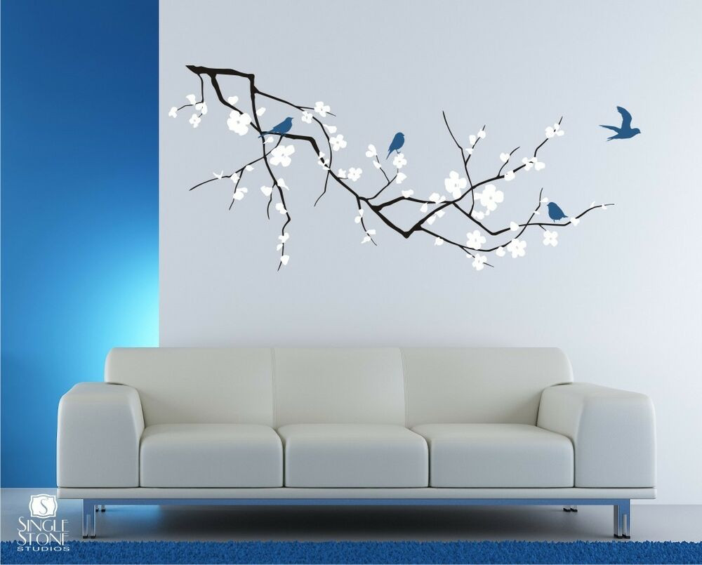 Best ideas about Vinyl Wall Art . Save or Pin Wall Decals Cherry Blossom with Birds 3 Colors Vinyl Now.