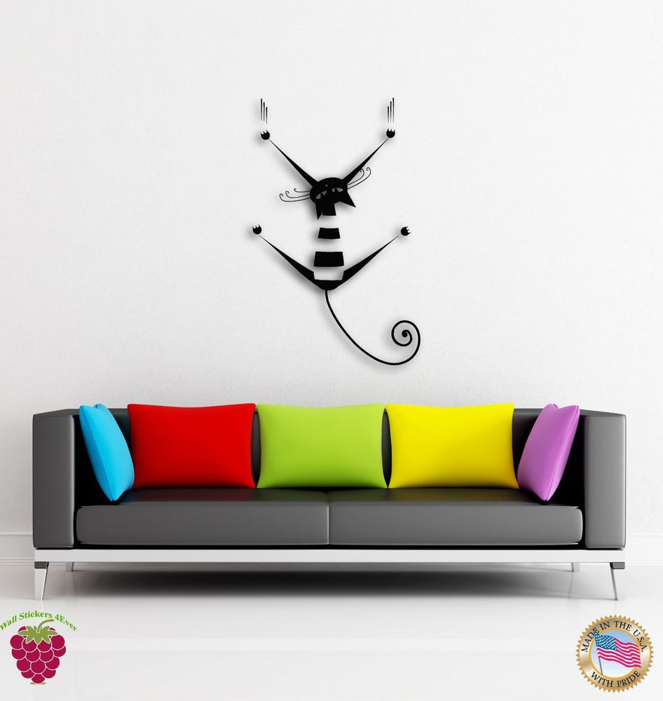 Best ideas about Wall Art Decals . Save or Pin Wall Stickers Vinyl Cat Kitty Pets Scratch Funny Decor For Now.