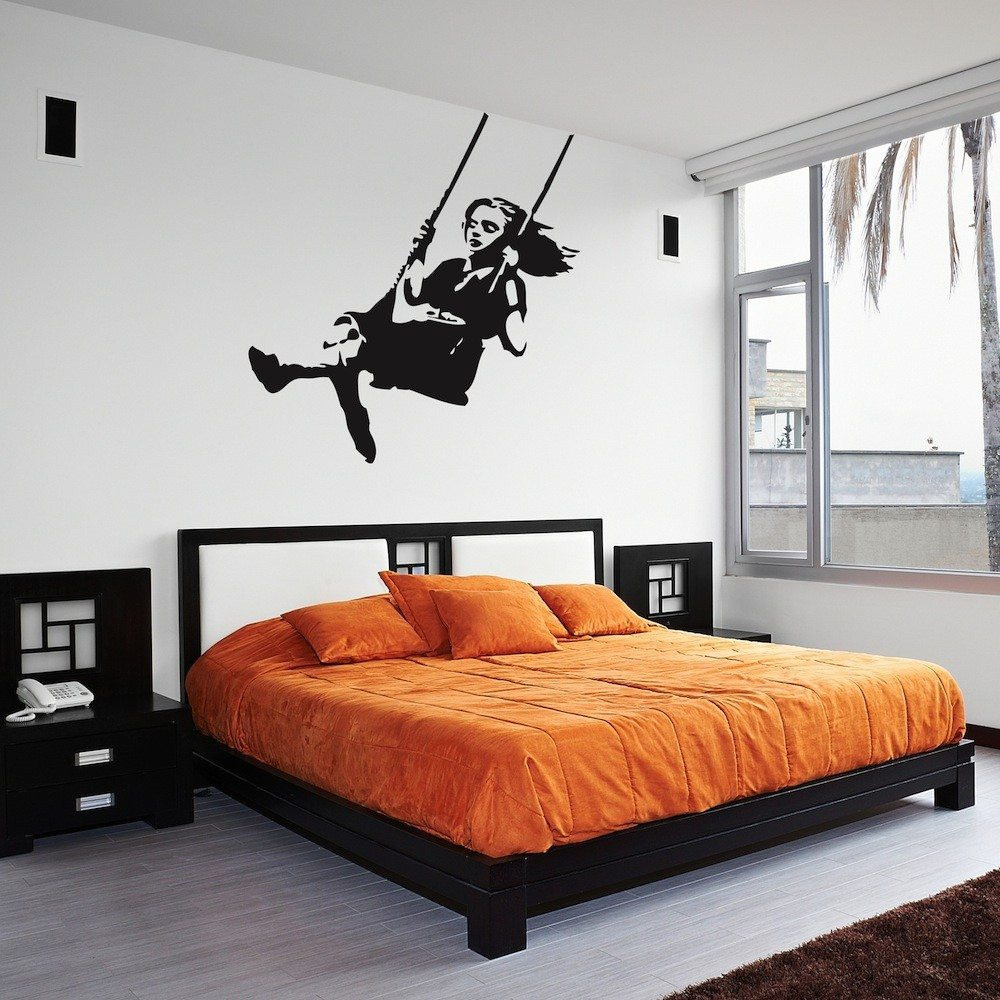Best ideas about Wall Art Decals . Save or Pin Banksy Girl Swinging Wall Art Decal Now.