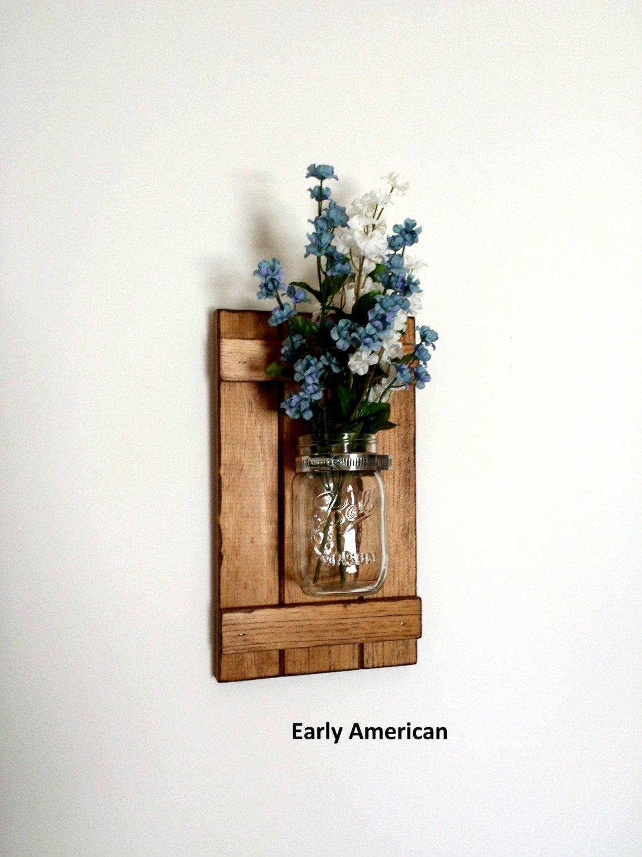 Best ideas about Wall Art Decor . Save or Pin Set of 2 Rustic Mason Jar Wall Decor Shutter Wall Decor Now.