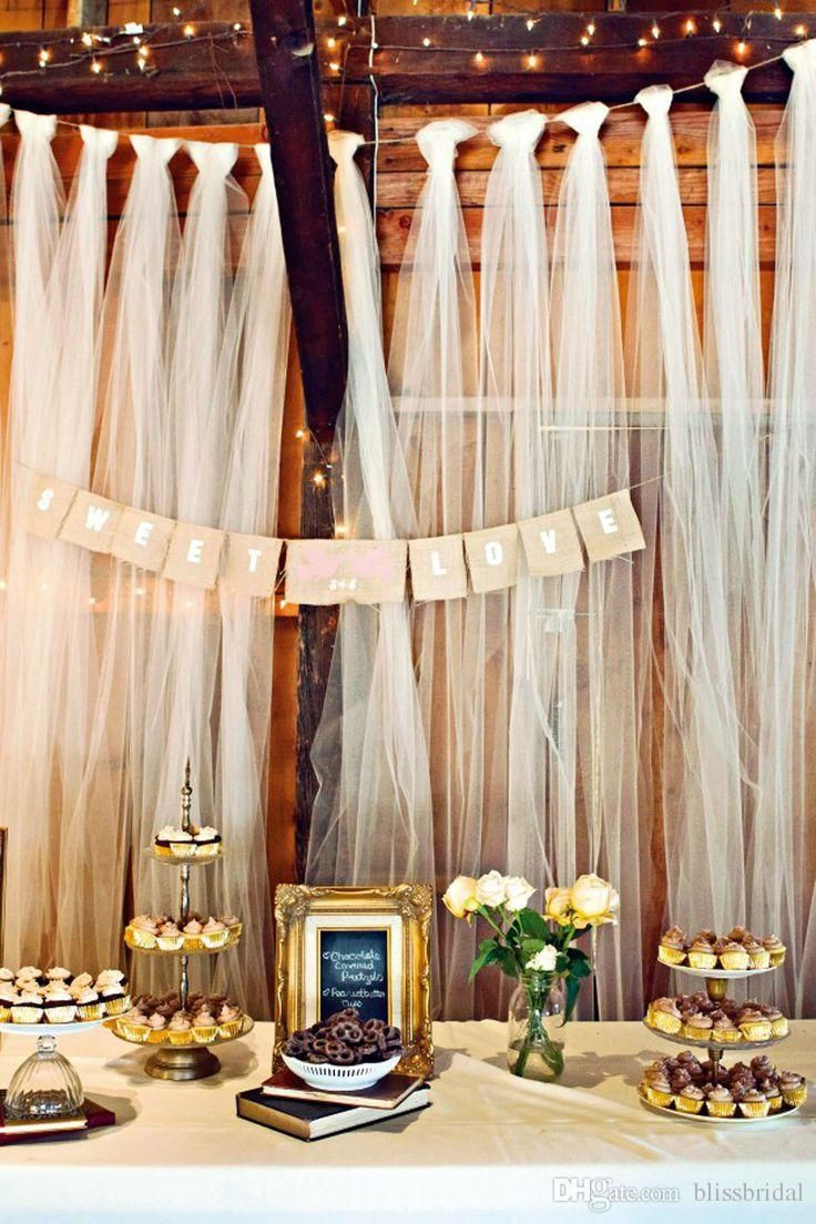 Best ideas about Wedding Backdrop DIY . Save or Pin Easy DIY tulle buffet backdrop wedding decoration Now.