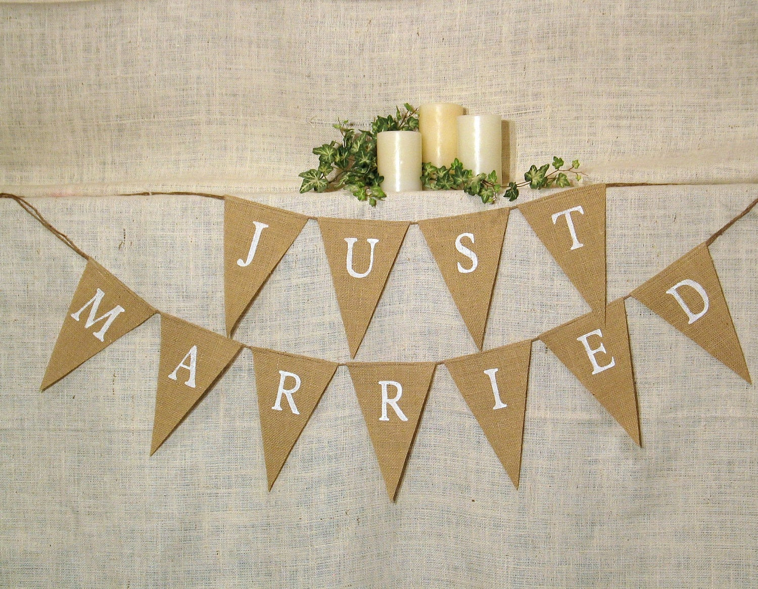 Best ideas about Wedding Banners DIY . Save or Pin Just Married Banner Burlap Banner Wedding Banner Now.