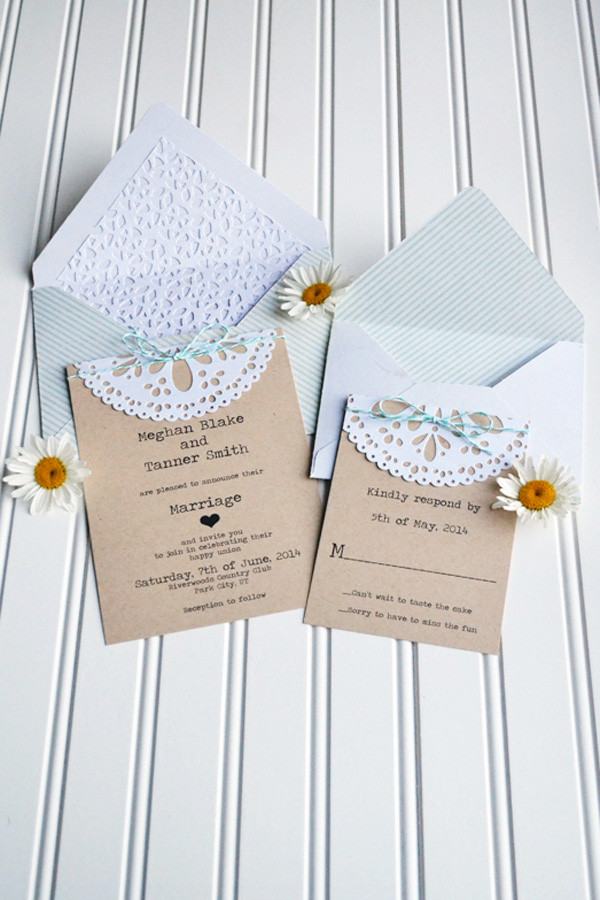 Best ideas about Wedding Invite DIY . Save or Pin DIY Doily Wedding Invitation Now.