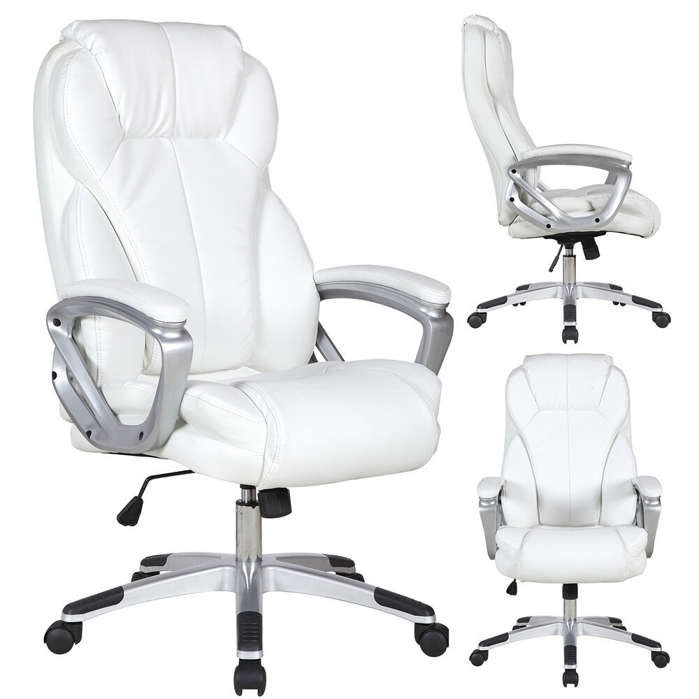 Best ideas about White Desk Chair . Save or Pin Executive Manger PU Leather fice Chair WHITE High Back Now.