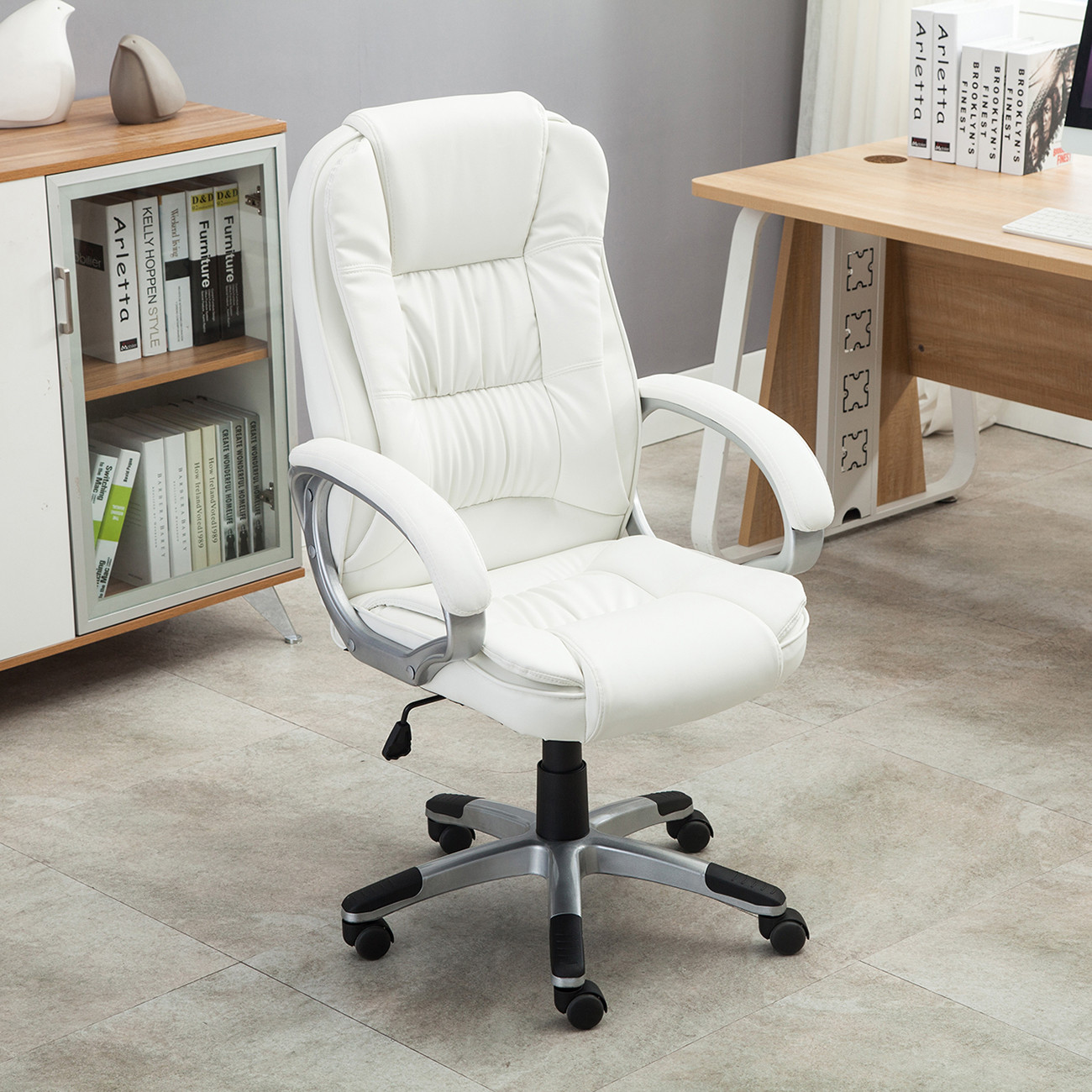 Best ideas about White Desk Chair . Save or Pin White PU Leather High Back fice Chair Executive Now.