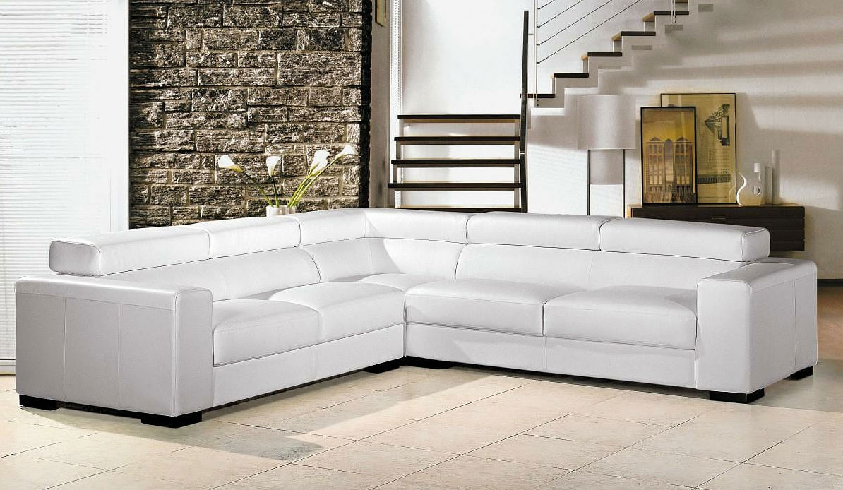 Best ideas about White Sectional Sofa . Save or Pin White leather Sectional sofa VG80 Now.