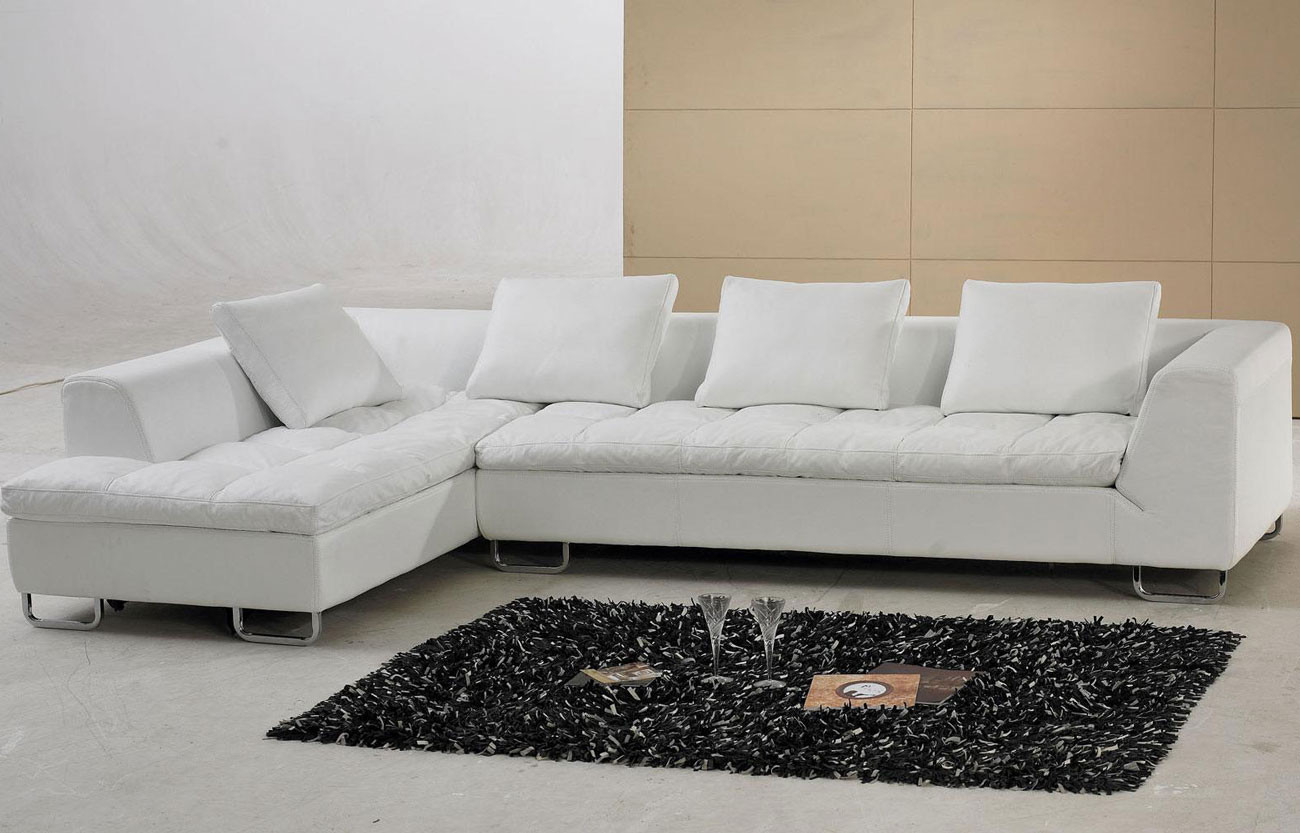 Best ideas about White Sectional Sofa . Save or Pin White Contemporary L Shaped Leather Sectional Sofa Couch Now.