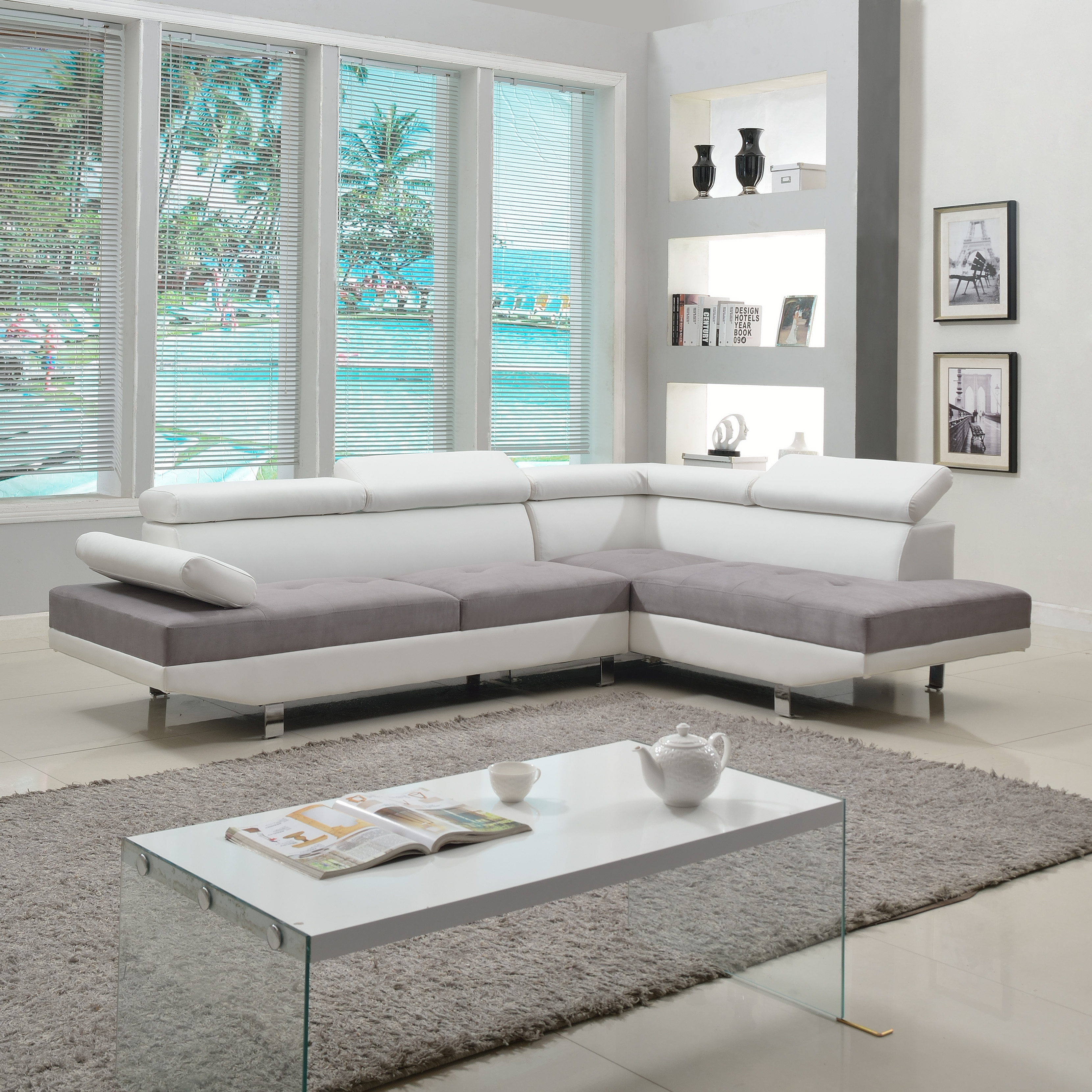 Best ideas about White Sectional Sofa . Save or Pin 2 Piece Modern Contemporary White Faux Leather Sectional Now.