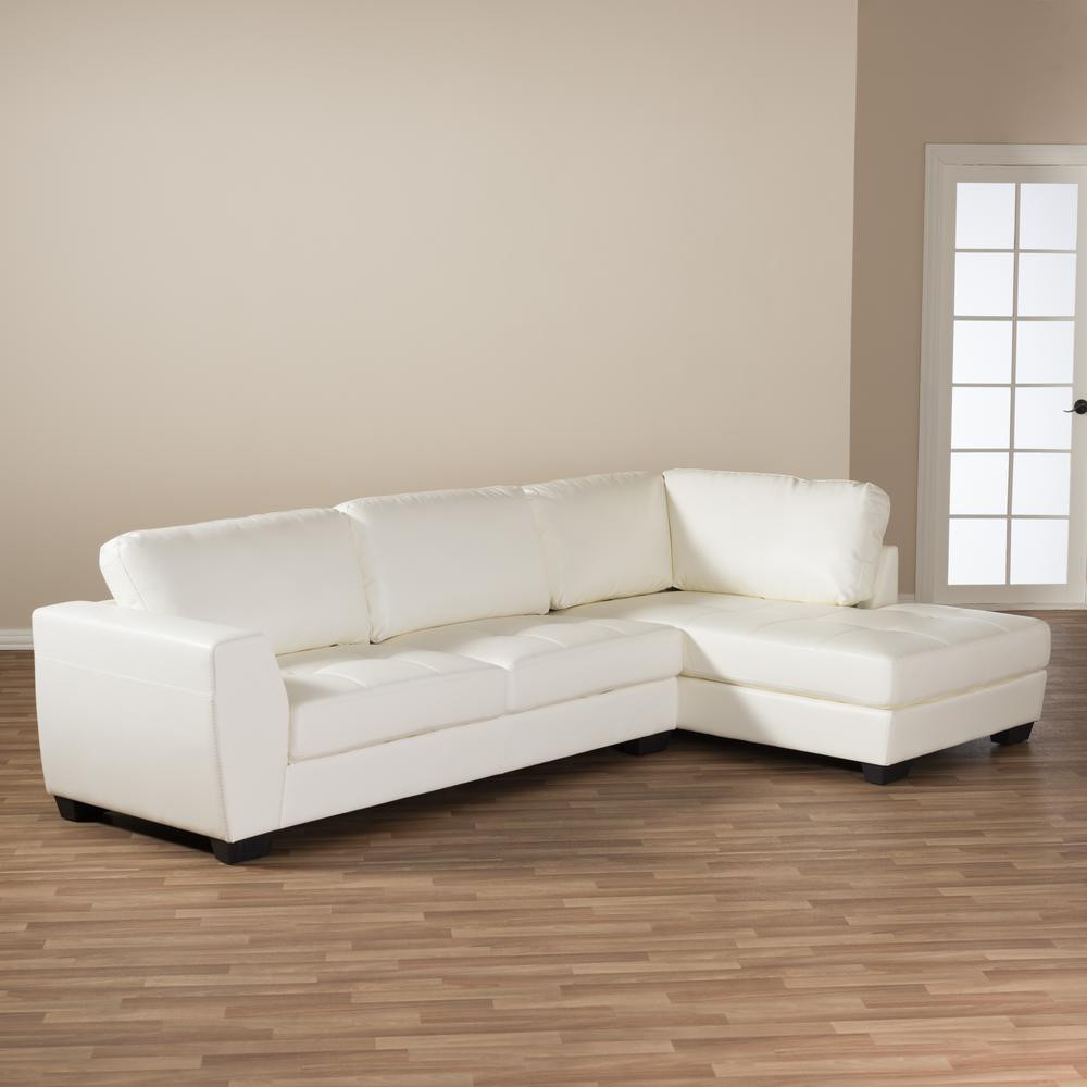 Best ideas about White Sectional Sofa . Save or Pin Baxton Studio Orland 2 Piece Contemporary White Faux Now.