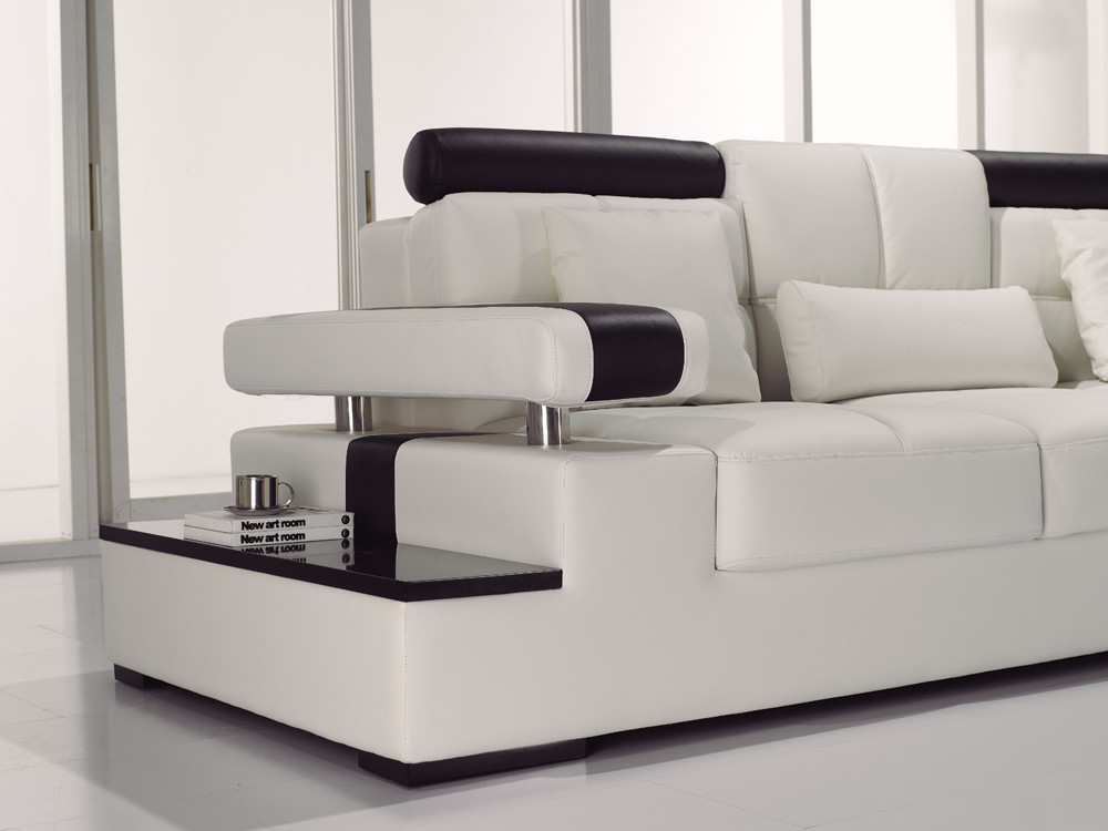 Best ideas about White Sectional Sofa . Save or Pin Contemporary Black & White Italian Leather Sectional Sofa Now.