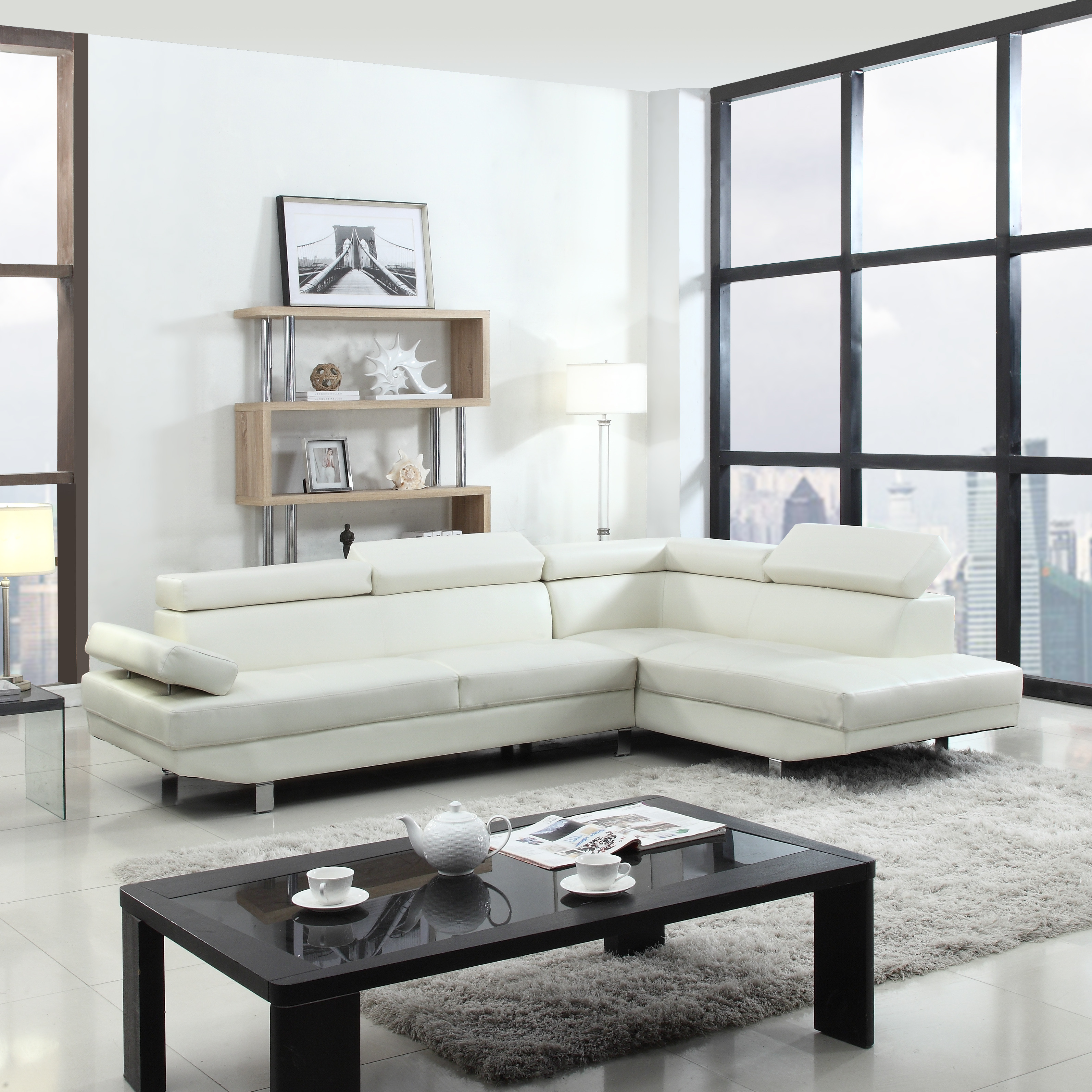 Best ideas about White Sectional Sofa . Save or Pin 2 Piece Contemporary Modern Faux Leather White Sectional Now.