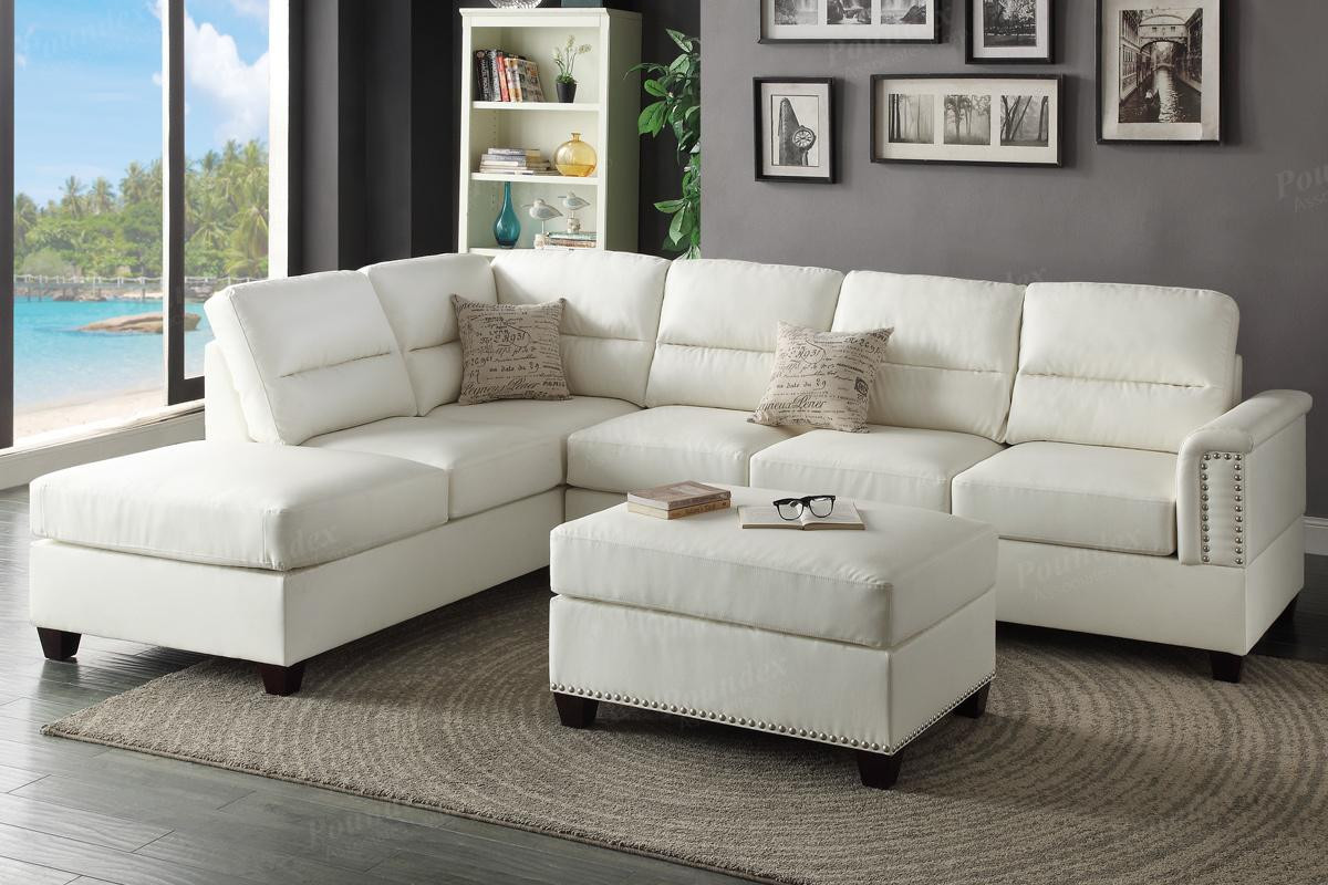 Best ideas about White Sectional Sofa . Save or Pin White Leather Sectional Sofa and Ottoman Steal A Sofa Now.