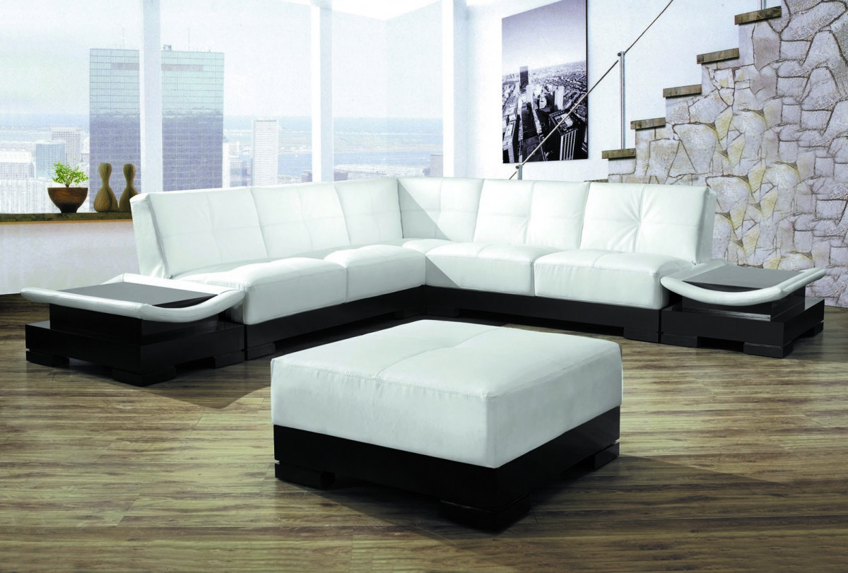 Best ideas about White Sectional Sofa . Save or Pin 9969 Modern White Leather Sectional Sofa Now.