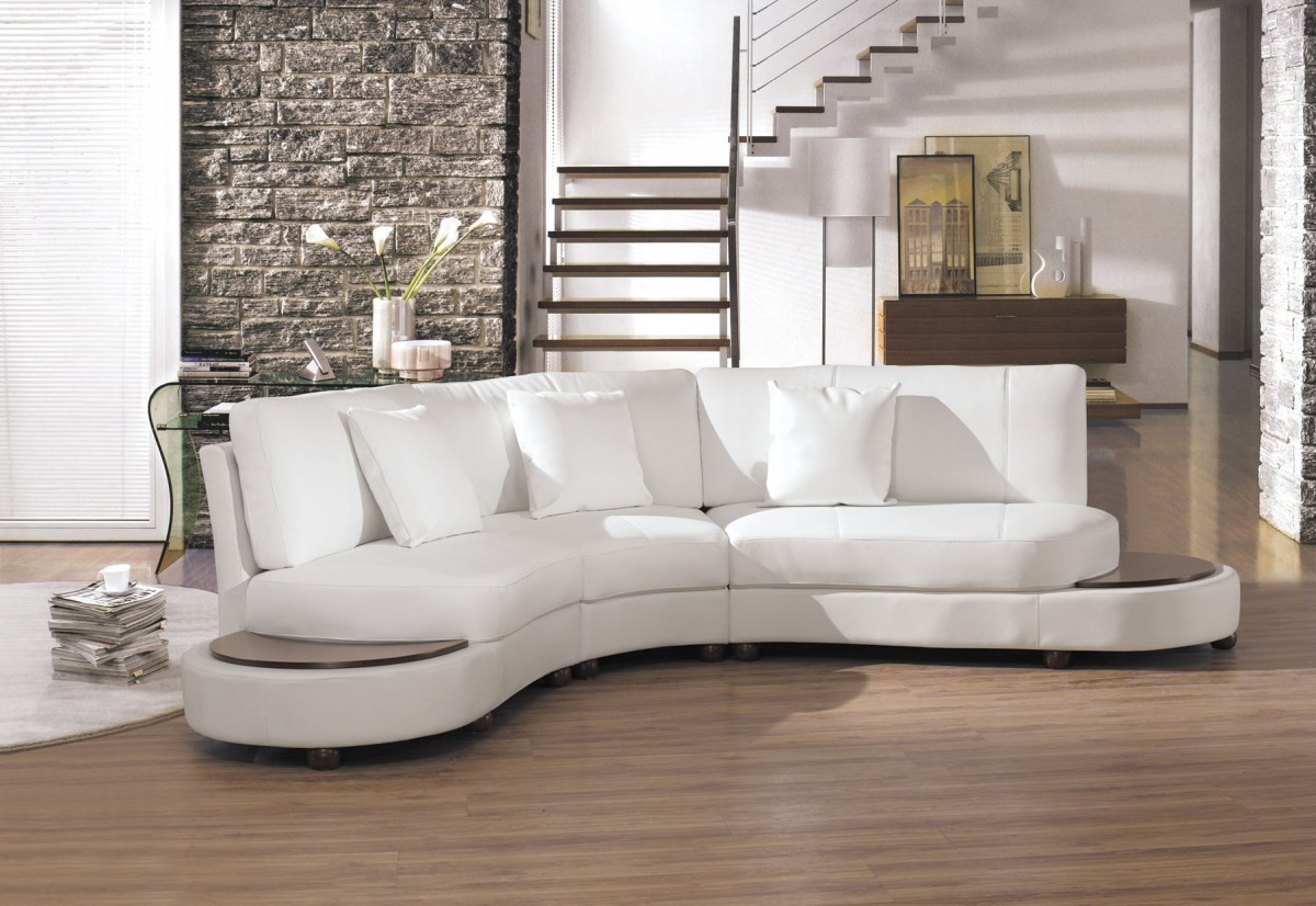 Best ideas about White Sectional Sofa . Save or Pin 2229Bc Modern White Leather Sectional Sofa Now.