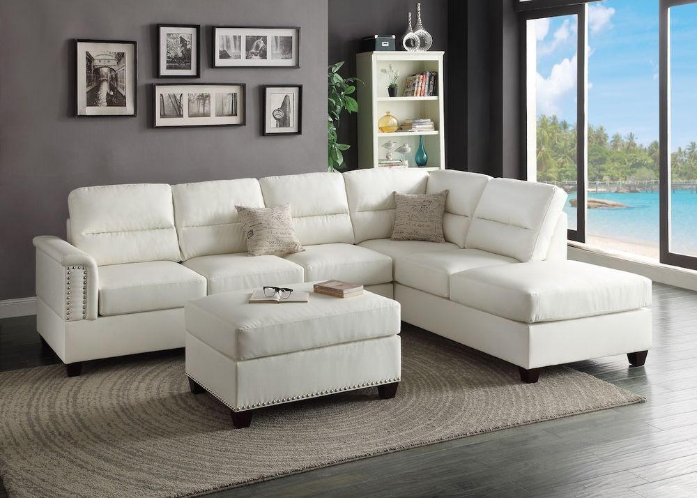 Best ideas about White Sectional Sofa . Save or Pin Modern White Bonded Leather Sectional Couch Sofa Ottoman Now.
