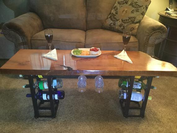 Best ideas about Wine Rack Coffee Table . Save or Pin Coffee Table Live Edge Cherry Wine Rack by gor1don on Etsy Now.