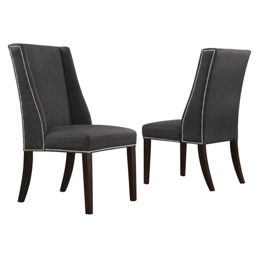 Best ideas about Wingback Dining Chair . Save or Pin Harlow Wingback Dining Chair with Nailheads Wood Dark Gray Now.
