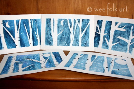 Best ideas about Winter Art Projects For Kids . Save or Pin Winter Birch Trees Wee Folk Art Now.