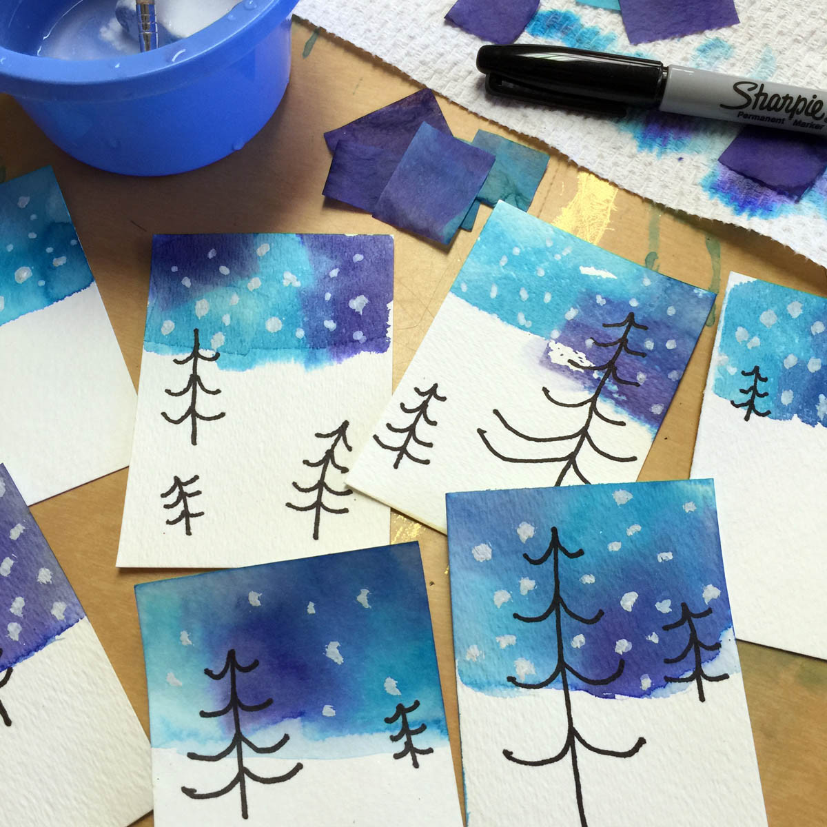 Best ideas about Winter Art Projects For Kids . Save or Pin Bleeding Tissue Paper Skies Art Projects for Kids Now.
