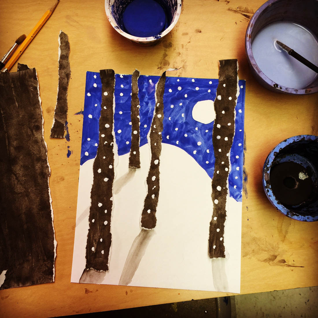 Best ideas about Winter Art Projects For Kids . Save or Pin Torn Winter Tree Art Art Projects for Kids Now.