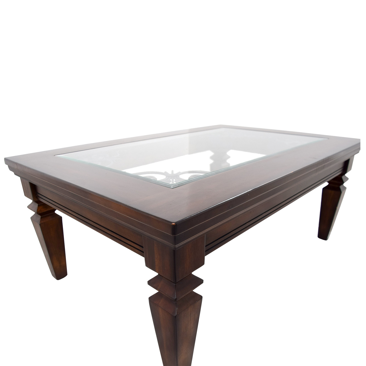 Best ideas about Wood And Glass Coffee Table . Save or Pin OFF Wood Metal Scroll and Glass Coffee Table Tables Now.