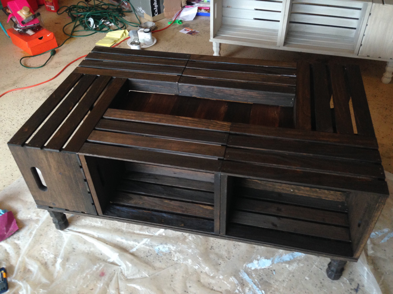 Best ideas about Wood Crate Coffee Table . Save or Pin Wood Stained Wine Crate Coffee Table by NotTooShabbyHome Now.