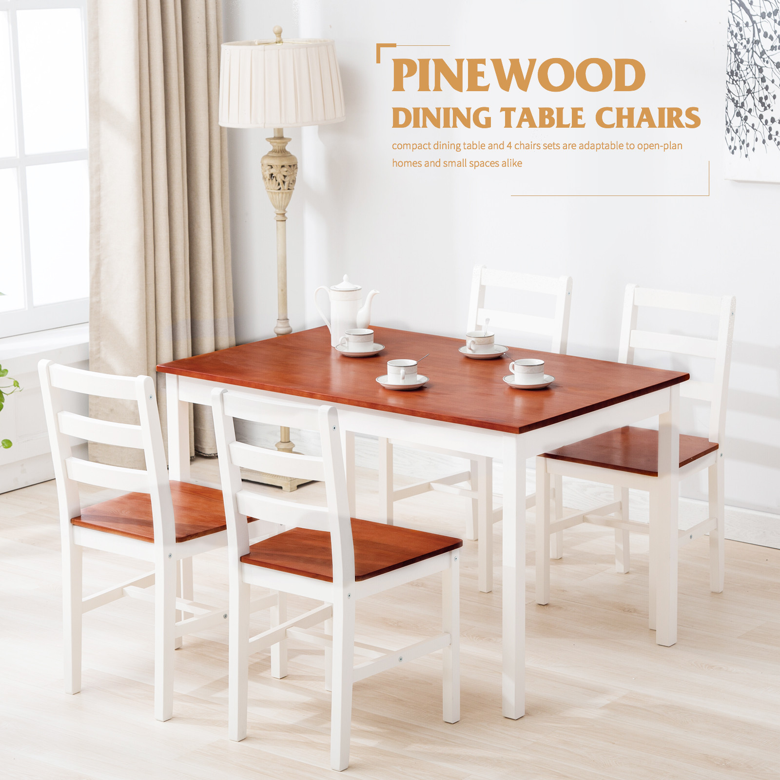 Best ideas about Wood Dining Room Table . Save or Pin 5 Piece Pine Wood Dining Table and Chairs Dining Table Set Now.