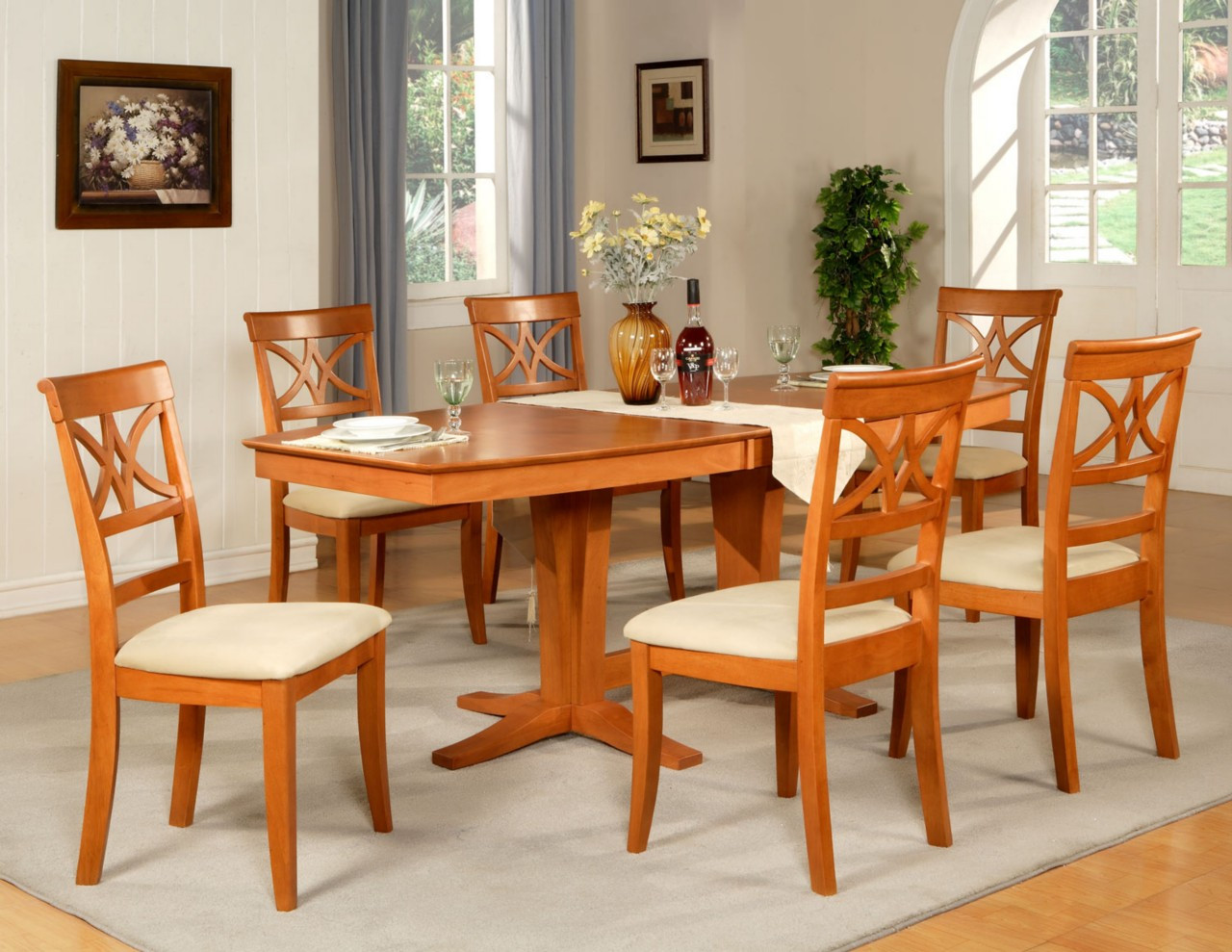 Best ideas about Wood Dining Room Table . Save or Pin 7PC DINING ROOM SET TABLE AND 6 WOOD SEAT CHAIRS IN LIGHT Now.