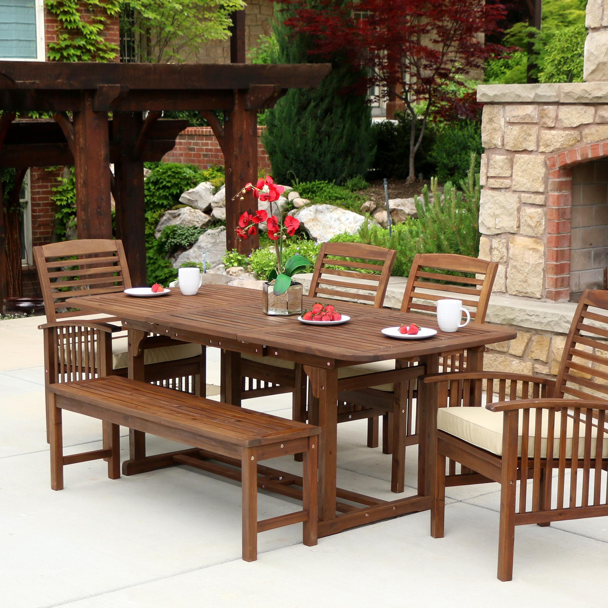 Best ideas about Wooden Patio Furniture . Save or Pin Amazon WE Furniture Solid Acacia Wood 6 Piece Patio Now.