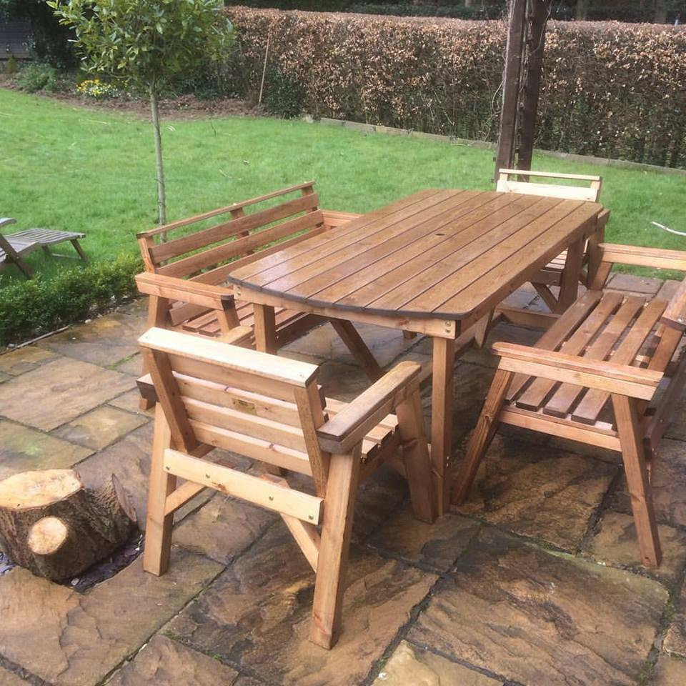 Best ideas about Wooden Patio Furniture . Save or Pin NEW STYLE Solid Wood Garden Patio Furniture Set 6 ft Now.