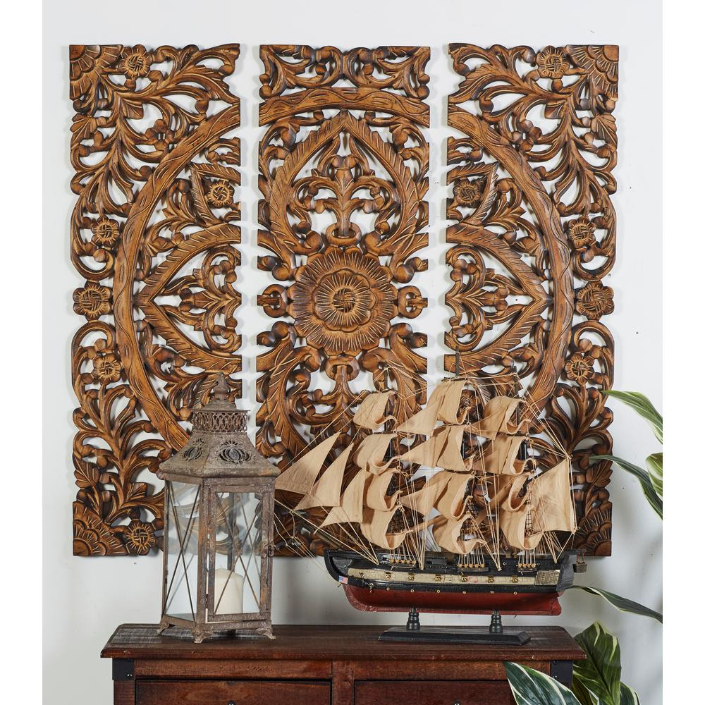 """Best ideas about Wooden Wall Art . Save or Pin Litton Lane 36 in x 12 in """"Carved Botanical Medallion Now."""
