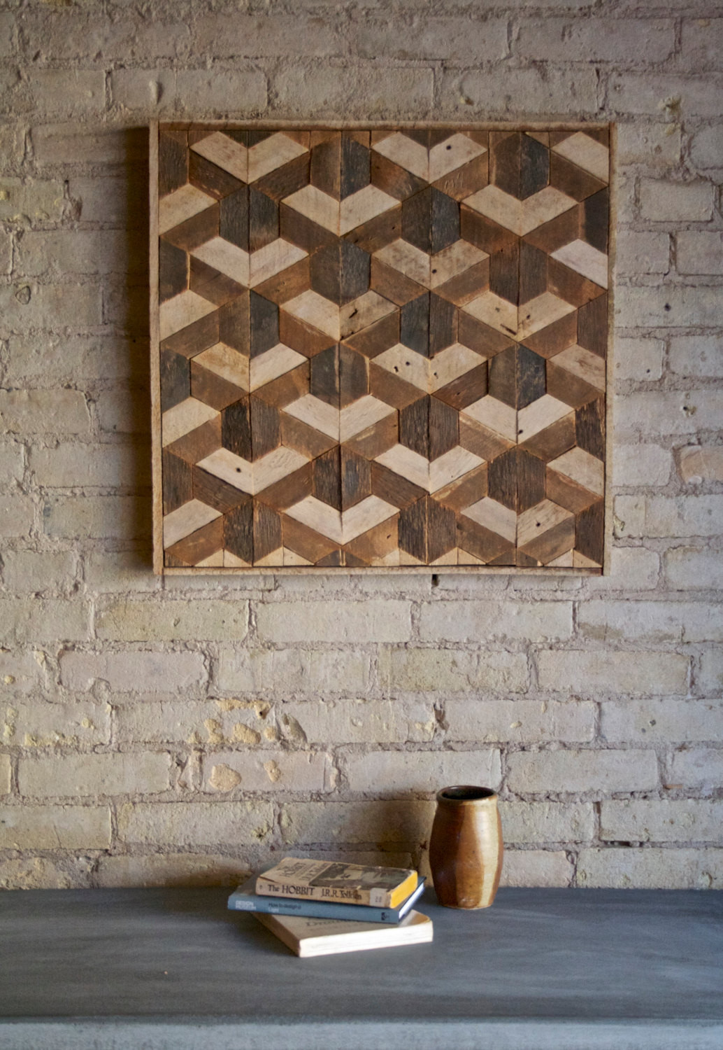 Best ideas about Wooden Wall Art . Save or Pin Reclaimed Wood Wall Art Decor Lath Pattern Geometric Now.