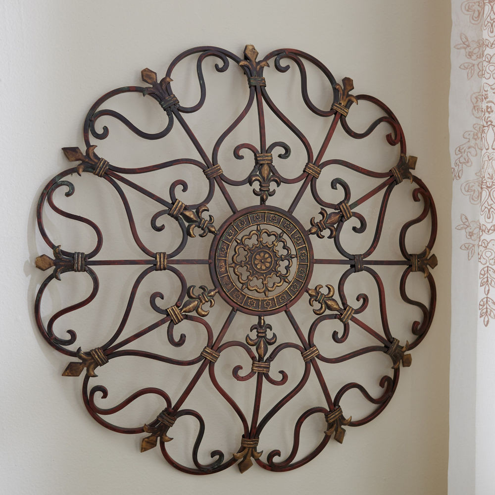 Best ideas about Wrought Iron Wall Art . Save or Pin Round Wrought Iron Wall DECOR Scroll Fleur De Lis Antique Now.