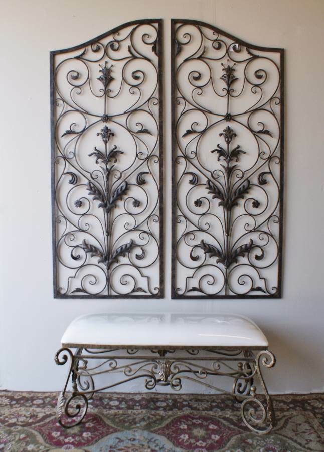 """Best ideas about Wrought Iron Wall Art . Save or Pin Tuscan 60"""" Indoor Outdoor Wrought Iron Wall Grille Set Now."""