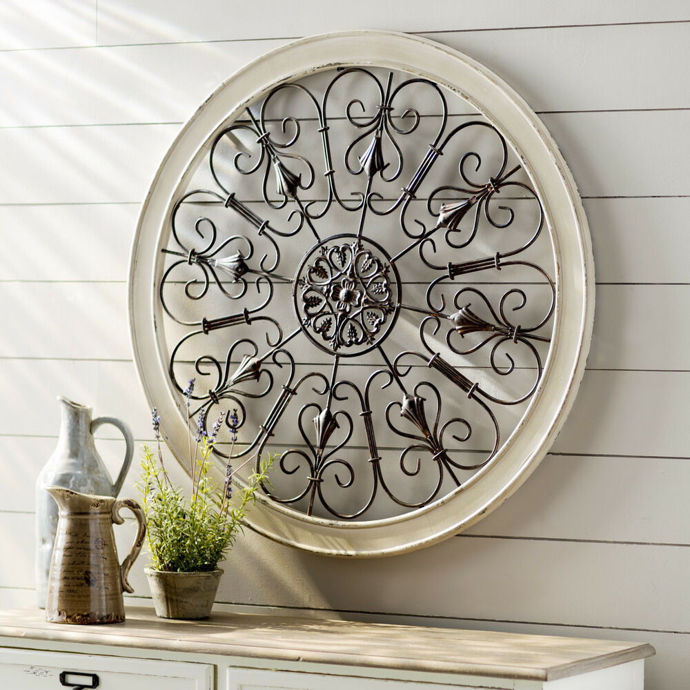 Best ideas about Wrought Iron Wall Art . Save or Pin White Round Wrought Iron Wall DECOR Rustic Scroll Antique Now.