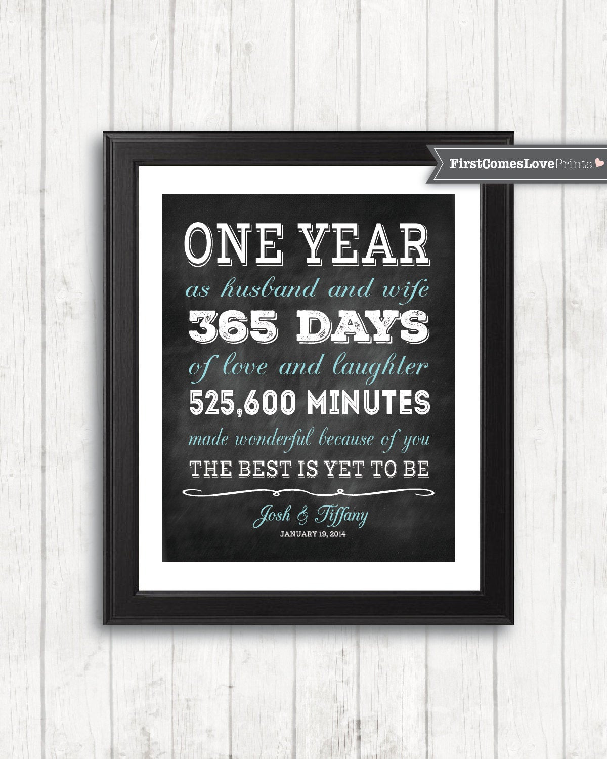 Best ideas about 1 Year Anniversary Gift Ideas For Her . Save or Pin Chalkboard Style First Anniversary Gift for Husband for Wife Now.