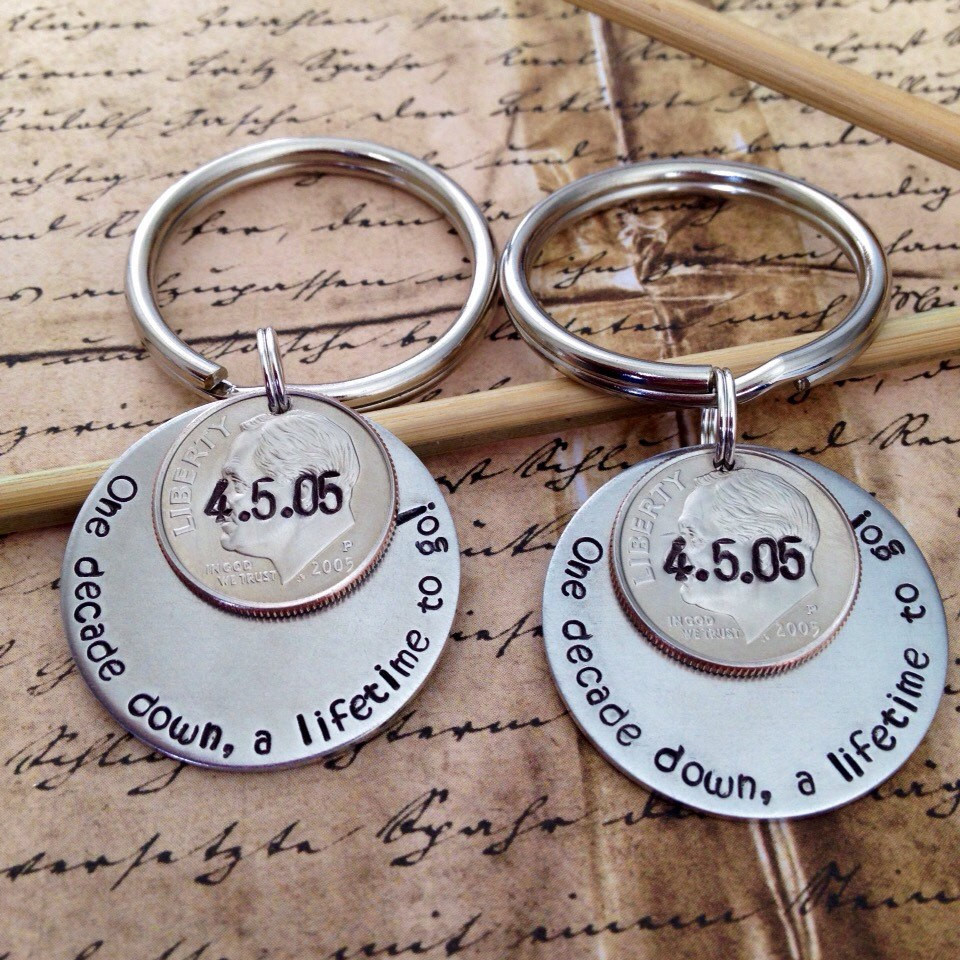 Best ideas about 10 Year Wedding Anniversary Gift Ideas For Him . Save or Pin His and Hers Matching Couples 10 Year Anniversary Custom Hand Now.