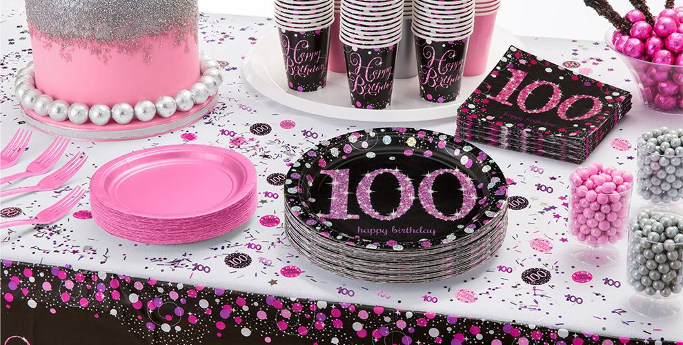 Best ideas about 100th Birthday Ideas . Save or Pin Pink Sparkling Celebration 100th Birthday Party Supplies Now.
