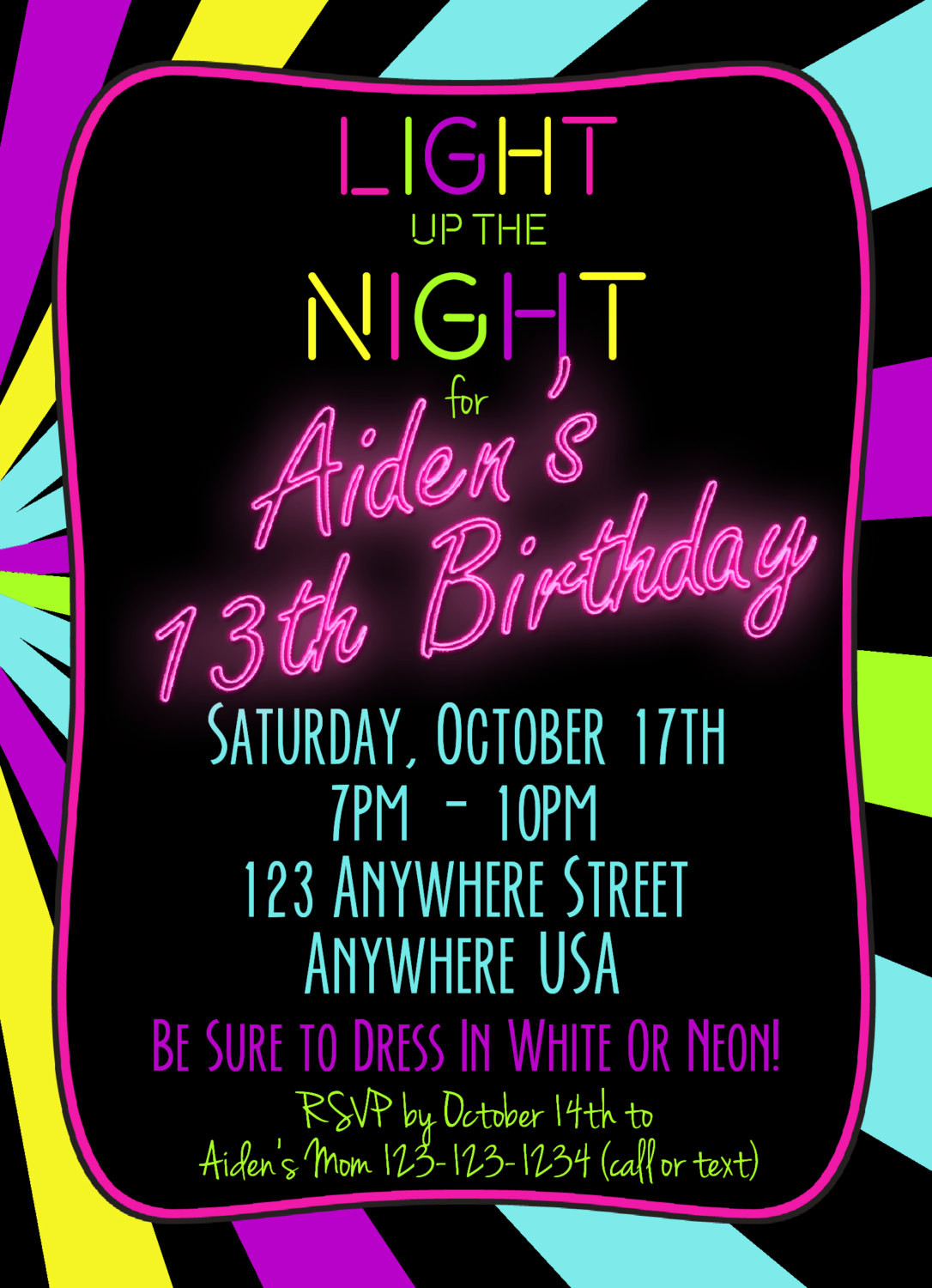 Best ideas about 13th Birthday Invitations . Save or Pin Neon 13th Birthday Invitation Glow Party Invitation Any Now.