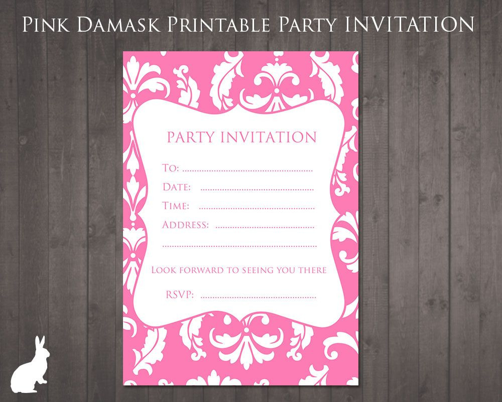 Best ideas about 13th Birthday Invitations . Save or Pin free party invitation pink damask Party Ideas Now.