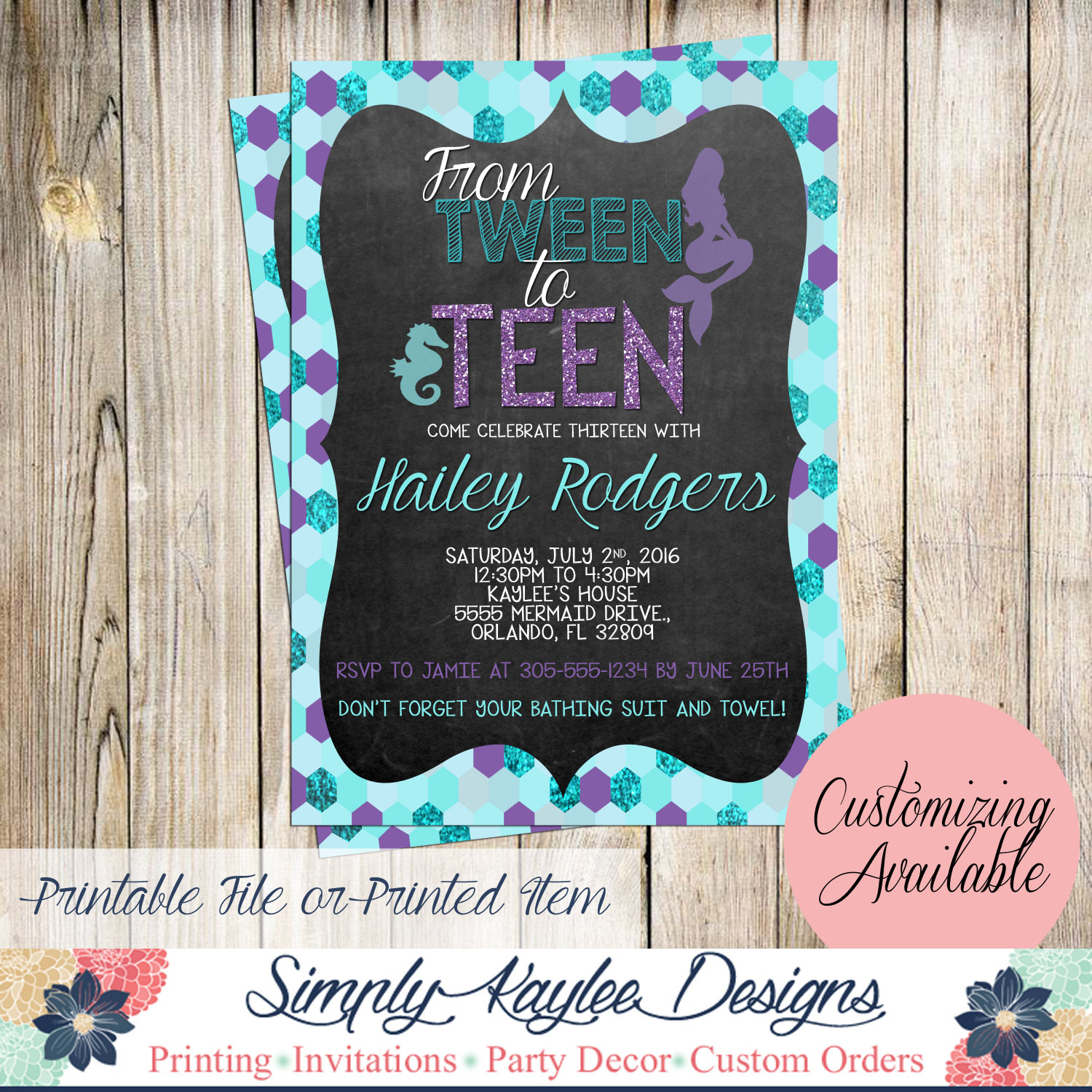 Best ideas about 13th Birthday Invitations . Save or Pin Tween to Teen Mermaid Birthday Invitation Thirteenth Now.