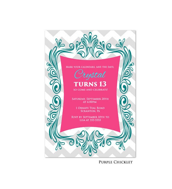 Best ideas about 13th Birthday Invitations . Save or Pin 13th Birthday Invitation Aqua Pink Teal Colorful Fun Tween Now.