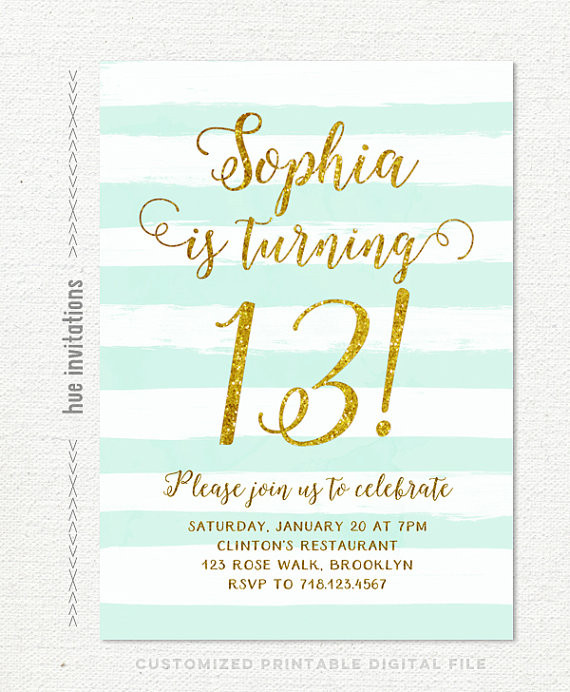 Best ideas about 13th Birthday Invitations . Save or Pin 13th birthday invitations girl mint stripes gold glitter Now.